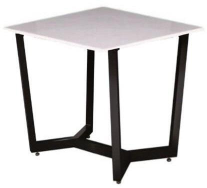 Caplan CAPLANETMA 24 inch  Square End Table with Ceramic Marble Glass Top and Crisp  Clean Streamlined Design in Black Powder