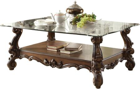Versailles Collection 82100 56 inch  Rectangular Coffee Table with 10mm Tempered Clear Glass Top  Beveled Edges  Scroll Legs and Bottom Shelf in Cherry Oak