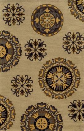 VOLVO827900040203 Volare VO8279-2' x 3' Hand-Tufted 100% Wool Rug in Dark Beige  Rectangle