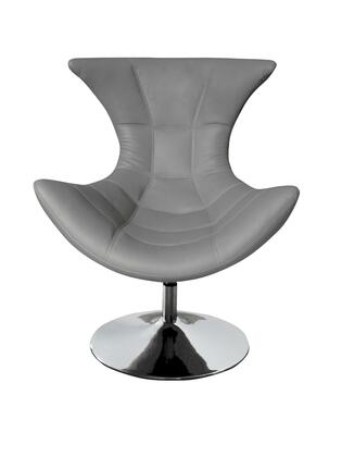 CH1340GRY Charlotte Swivel Chair  Gray Faux Leather  Chrome
