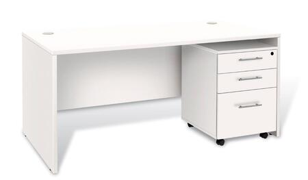1C100025MPWH White Executive Desk with 3 Drawer Mobile
