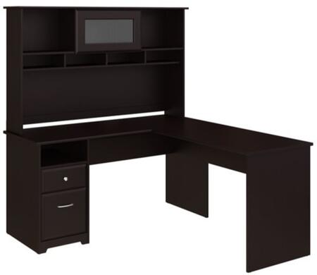 Cabot WC31830-03K-31 Desk and Hutch with One Door  One Drawer and One Filing Cabinet in Espresso