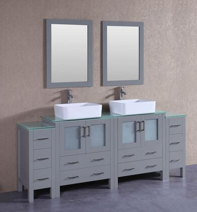 AGR230RCCWG2S 84 inch  Double Vanity with Clear Tempered Glass Top  Rectangle White Ceramic Vessel Sink  F-S02 Faucet  Mirror  4 Doors and 10 Drawers in