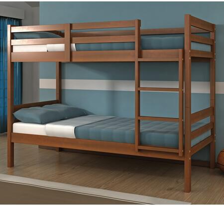 2004-E Twin Over Twin Econo Ranch Bunk Bed with Built in Ladder  Slat Headboard and Footboard in Espresso