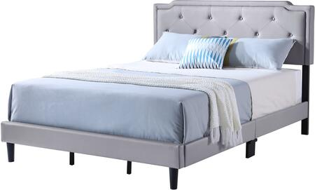 Starlight Collection G1112-FB-UP Full Size Bed with Tufted Headboard and Support Slats and Legs in Grey Faux
