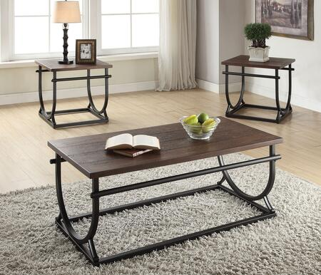 Debbie 80455CE 3 PC Living Room Table Set with Coffee Table + 2 End Tables in Cherry