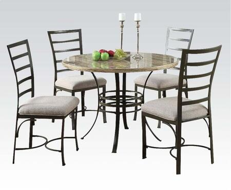 Val Collection 70057 5 PC Dining Room Set with Round Table  White Faux Marble Top  4 Side Chairs  Fabric Upholstery and Metal Construction in Antique Bronze