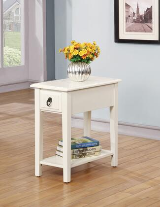 Jeana 80513 22 inch  Side Table with 1 Drawer  Bottom Shelf  Rectangular Shape  Straight Legs  Brass Hardware and Side Metal Drawer Glides in White