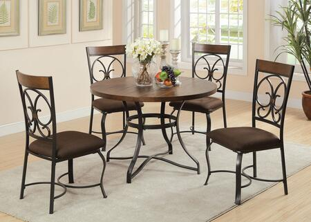 Jassi Collection 71124 5 PC Dining Room Set with Scrolled Metal Backrest  Curved Legs  Dark Brown Fabric Chair Cushion  Dark Cherry Wood Insert and Metal Frame