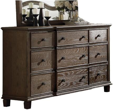 Baudouin Collection 26115 60 inch  Dresser with 9 Drawers  Metal Hardware  Felt Lined Top Drawers  Acacia Wood and Oak Veneer Materials in Weathered Oak