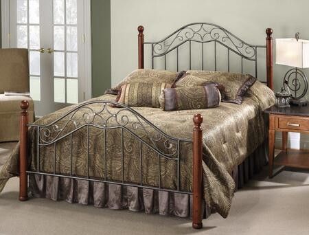 Martino Collection 1392BK King Size Headboard and Footboard Set with Decorative Finials  Wood Posts  Metal Scrollwork and Open Frame Panels in Smoke Silver and