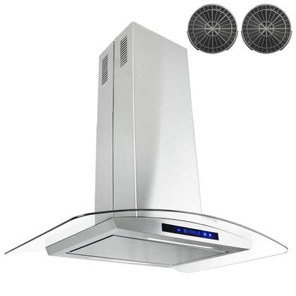 GIR0530P 30 inch  Island Mount Range Hood with 870 CFM  65 dB  Innovative Touch  1.5W LED Lighting  3 Fan Speed  Aluminum Grease Filter and Ductless: Stainless