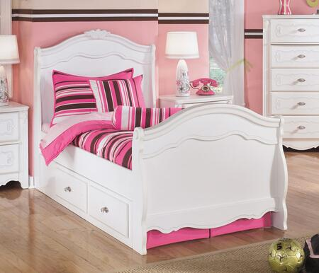 Exquisite Collection B188-62N/63N/82N/60/B100-11 Twin Size Sleigh Bed with Underbed Storage Drawers  Molding Details  Rosettes and Satin Nickel Hardware in