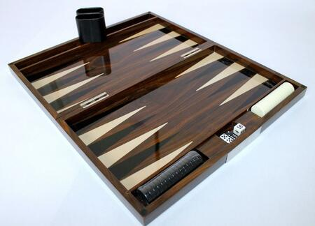 LAC301ASH 18 inch  Backgammon Set with Instructions  Dice  Playing Cups  and Chips: Lacquer