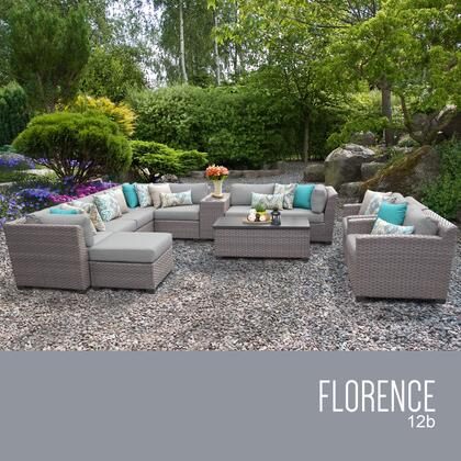 FLORENCE-12b-GREY Florence 12 Piece Outdoor Wicker Patio Furniture Set 12b With 2 Covers: Grey And