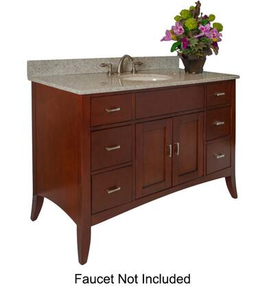 Metro Collection 385-4800-GH 48 inch  Sink Vanity with Flared Legs  2 Doors  6 Drawers  Brushed Nickel Hardware and Water Resistant Brown Cherry Finish with Gold