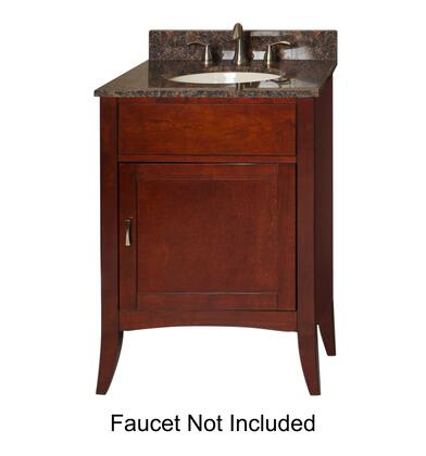 Metro Collection 385-2400-TB 24 inch  Sink Vanity with Flared Legs  1 Door  Brushed Nickel Hardware and Water Resistant Brown Cherry Finish with Tan Brown Granite