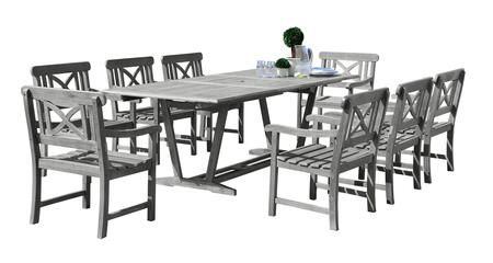 V1294SET18 Renaissance Outdoor 9-Piece Hand-Scraped Wood Patio Dining Set With Extension