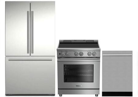 3-Piece Kitchen Package with BRFD2230SS 36 inch  French Door Refrigerator  BIRP34450SS 30 inch  Slide In Electric Range  and DWT57500SS 24 inch  Built In Fully Integrated