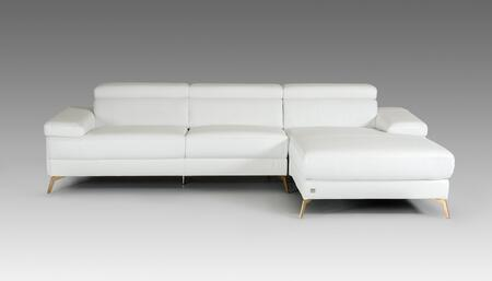 Divani Casa Kayla Collection VGCA1512-WHT 116 inch  2-Piece Italian Leather Sectional Sofa with Left Arm Facing Sofa and Right Arm Facing Chaise in