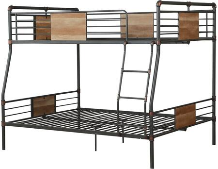 Brantley Collection 37725 Full XL Over Queen Size Bunk Bed with Slat System Included  Easy Access Guardrail  Fixed Front Ladder and Metal Construction in Sandy