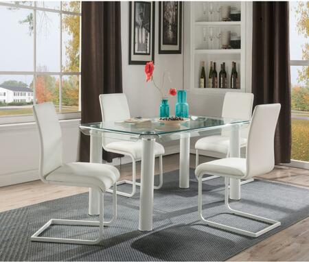 Gordie Collection 702602SET 5 PC Dining Room Set with Glass Top Dining Table and 4 White PU Leather Upholstered Side Chairs in White