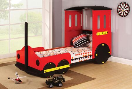 Tobi Collection 37195T Twin Size Bed with Train Design  Slat System Included  Padded Headboard and Powder Coating Metal Tube Construction in Red