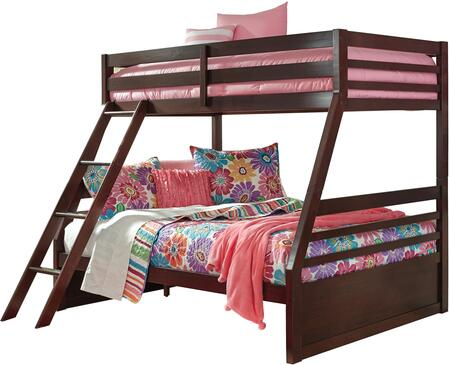 Halanton Collection B328-58P-58R Twin Over Full Size Bunk Bed with Full Length Guardrails  Slats Included and Sturdy Wood Construction in Dark