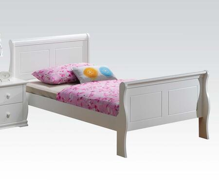 Nebo Collection 30085T Twin Size Bed with Sleigh Headboard and Wood Construction in White