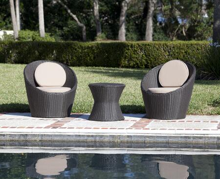 62155 Bella Bolla Round Wicker Bistro Set with Four 2 inch  Thick Cushions and All Weather Wicker Construction in