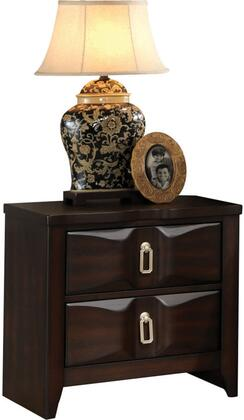 Lancaster Collection 24573 24 inch  Nightstand with 2 Beveled Front Drawers  Silver Metal Hardware  Rubberwood and Tropical Wood Construction in Espresso