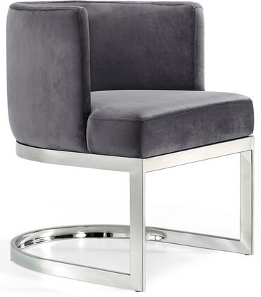 Gianna Collection 734Grey-C 19 inch  Dining Chair with Plush Velvet Upholstery  Chrome Stainless Steel Base and Barrel Back Design in