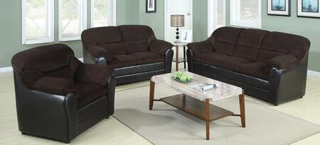Connell 15975SLC 3 PC Living Room Set with Sofa + Loveseat + Chair in Chocolate and Espresso