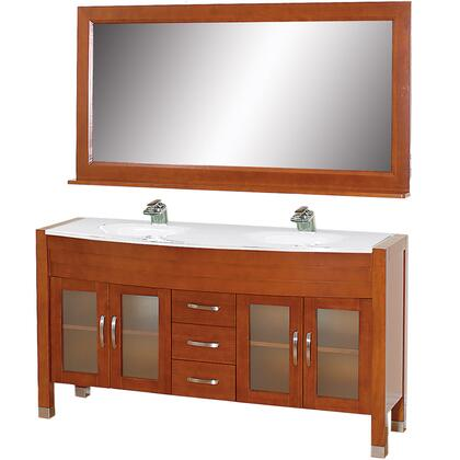 WCV220063CHWH 63 in. Double Bathroom Vanity in Cherry with White Man-Made Stone Top with White Integral Sinks and 63 in.