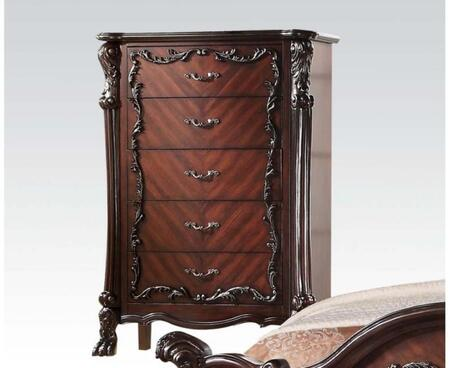 Westerland Collection 26016 41 inch  Chest with 5 Drawers  Claw Feet  Aged Iron Metal Hardware  Scroll Arches  Floral Accents and Pine Wood Construction in Dark
