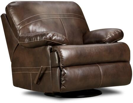Miracle Saddle 50981-16 Bonded Leather Swivel Glider Recliner with Plush Padded Arms and Stitched Detailing in