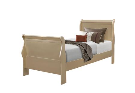 Hershel Louis Philippe Collection 204421T Twin Size Sleigh Bed with Simplistic Design and Hardwood Construction in Metallic