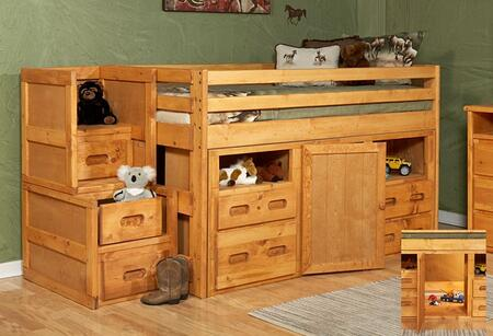 3544136-4139 Twin Junior Loft Bed with Storage and Stairway Chest