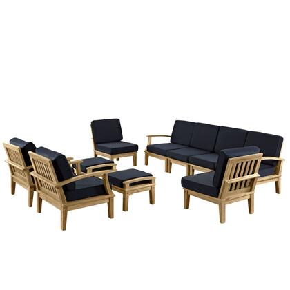 EEI-1489-NAT-NAV-SET Marina 10 Piece Outdoor Patio Teak Set with Sofa + 4 Chairs + 2 Ottomans  Natural Teak Wood  Natural Finish  Water and UV Resistant