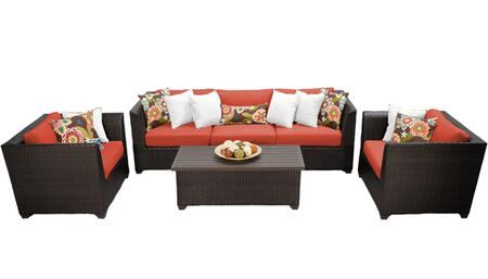 Barbados BARBADOS-06g-TANGERINE 6-Piece Wicker Patio Set 06g with 2 Corner Chairs  1 Armless Chair  2 Club Chairs and 1 Coffee Table - Wheat and Tangerine