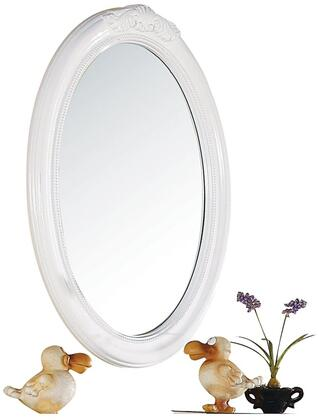 Classique Collection 30130 28 inch  x 39 inch  Oval Mirror with Beveled Edges and Pine Wood Construction in White