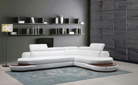 Divani Casa Killian Collection VGCA1514-WHT 132 inch  3-Piece Italian Leather Sectional Sofa with Left Arm Facing Sofa  Corner and Right Arm Facing Chair in