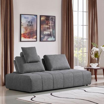 """Cloud_Collection_CLOUDLGBGR_83""""_Lounge_Seating_Platform_with_Plush_Polyester_Fabric_Upholstery__2_Moveable_Backrests_and_1_Accent_Pillow_in_Space"""