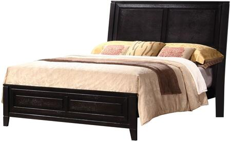 Nacey Collection 201961Q Queen Size Panel Bed with Clean Line Design  Tapered Legs  Low Profile Footboard  Hardwood and Veneer Construction in Dark
