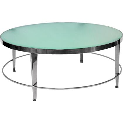 20602-01R 42x42x17 Sarah Round Cocktail Table With Frosted Glass Top on Polished Chrome