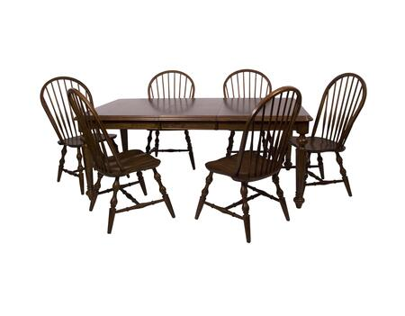 Andrews Collection DLU-ADW4276-C30-CT7PC 7-Piece Dining Room Set with Butterfly Leaf Dining Table and 6x Side Chairs in Distressed Chestnut