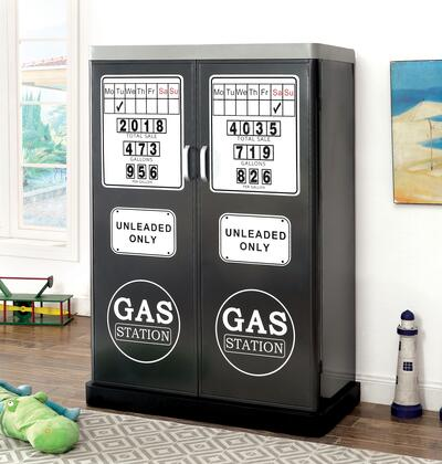Gt Racer Collection Cm-ac6260gm 42 Double Door Closet With Magnetic Numbers  Gasoline Pump Design And Sturdy Metal Construction In Silver And Gun Metal Frame