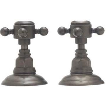 A7422XMAPC  Country Bath Collection Set of Hot and Cold 3/4  Sidevalves  Cross Handles: Polished