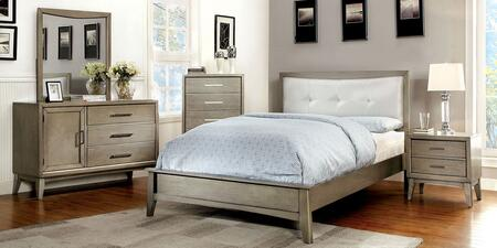 Snyder II Collection CM7782CKBEDSET 5 PC Bedroom Set with California King Size Platform Bed + Dresser + Mirror + Chest + Nightstand in Grey