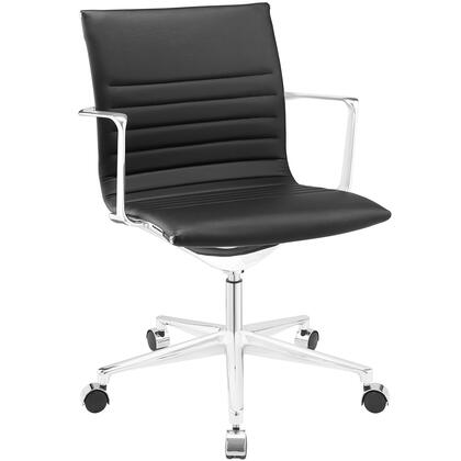 Vi Collection EEI-1526-BLK Office Chair with 360-Degree Swivel  Mid-High Backrest  Five Dual-Wheel Steel Casters  Polished Chrome Aluminum Base and Vinyl